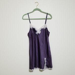 Victoria's Secret L Purple Satin Lace Chemise Slip